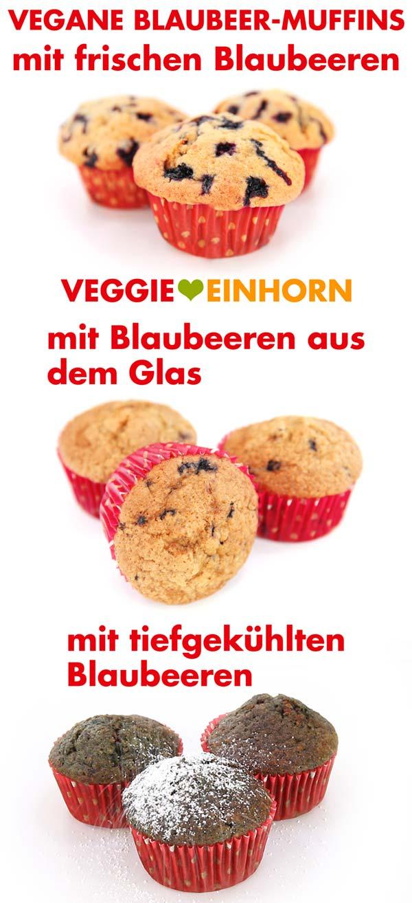 Vegane Blaubeermuffins mit frischen Blaubeeren, aus dem Glas und tiefgekühlt