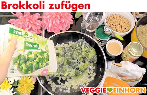 Tiefgefrorenen Brokkoli zufügen