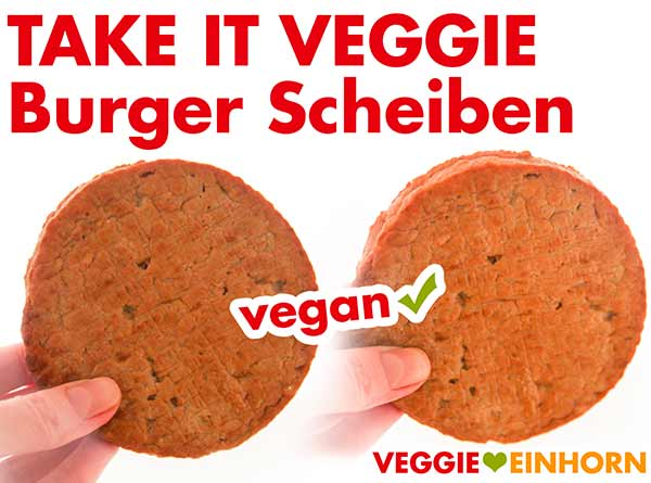 Zwei ungebratene Burger Patties von Take it Veggie
