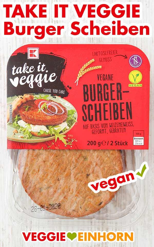Eine Packung Vegane Burger Patties von Take It Veggie