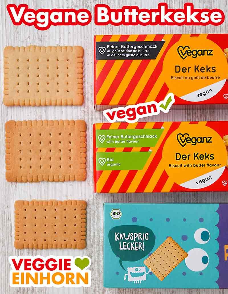 Drei Packungen vegane Butterkekse