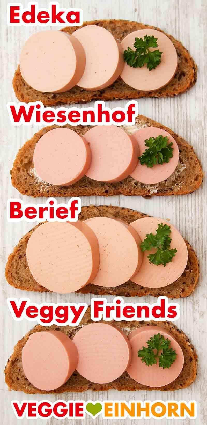 Vier Wurstbrote mit veganer Fleischwurst