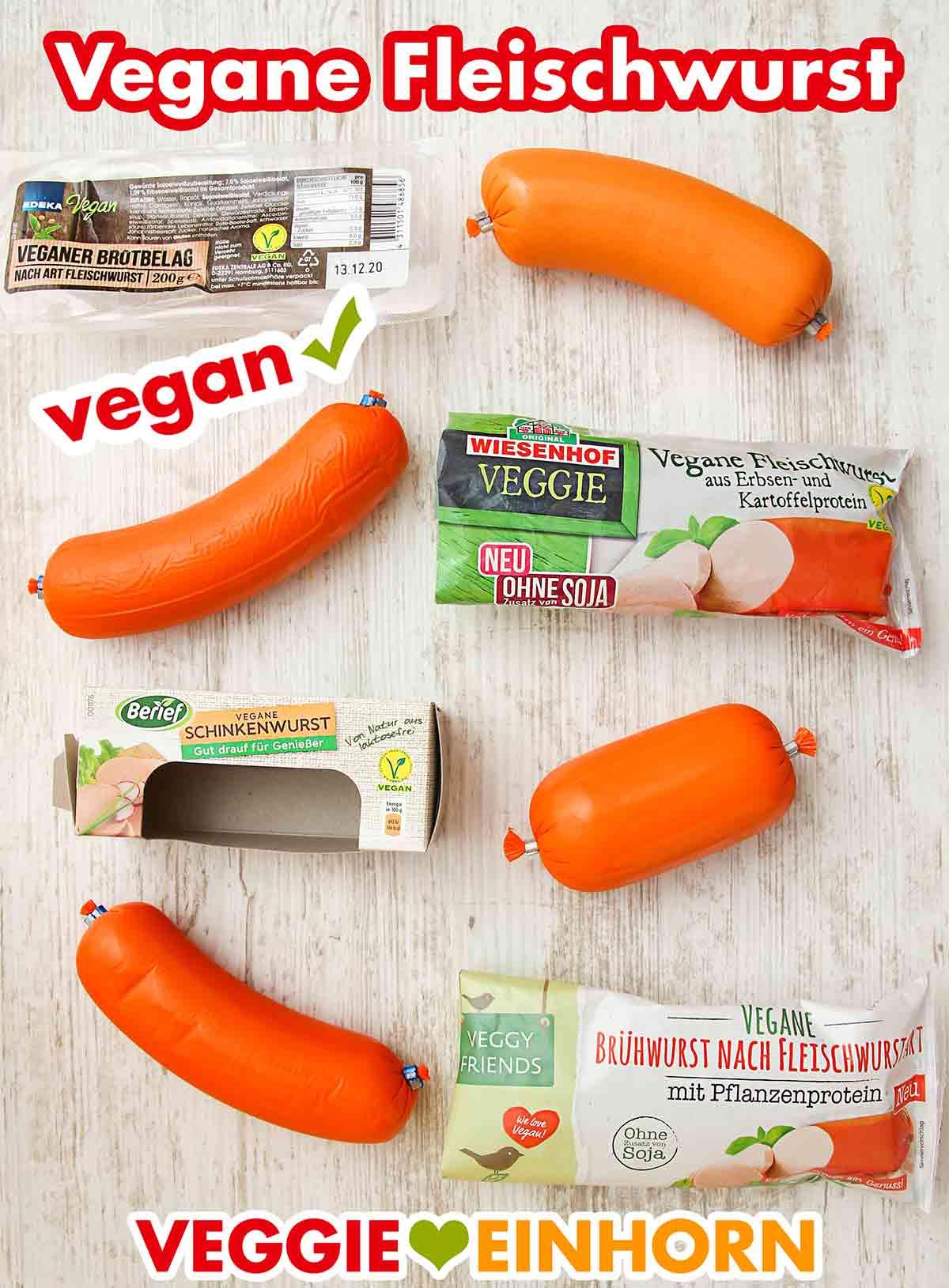 Packungen mit veganer Fleischwurst
