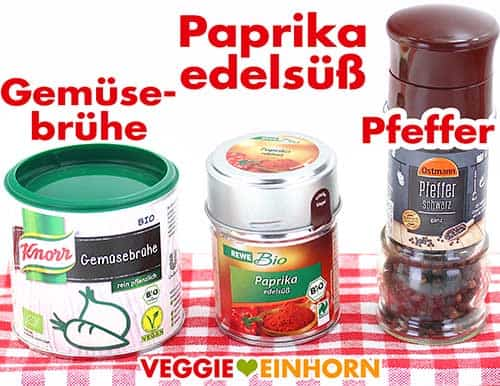 Veganes Gemüsebrühe Pulver, Paprika edelsüß Gewürz, schwarzer Pfeffer