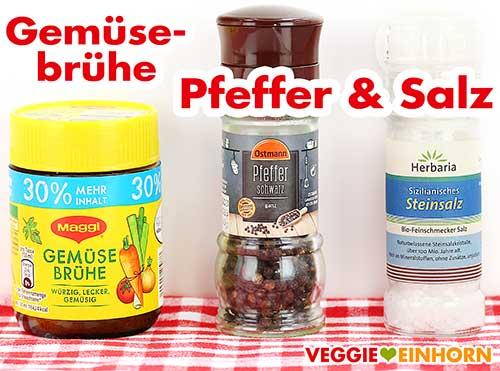 Veganes Gemüsebrühe Pulver, Pfeffer und Salz
