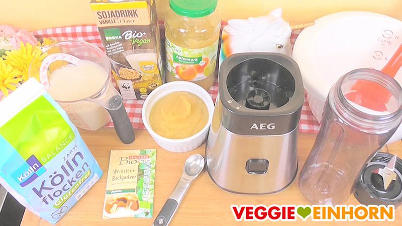 Vegane Waffeln mit Apfelmus und Haferflocken | Gesundes einfaches Rezept | Waffelrezept glutenfrei