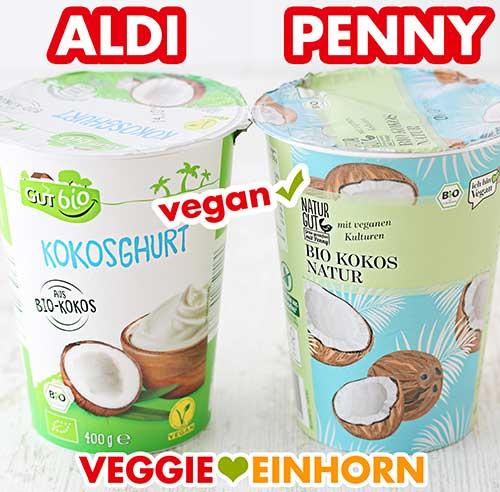 Zwei Becher Kokosjoghurt von Aldi und Penny
