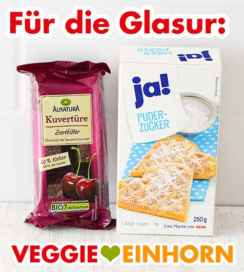 Vegane Kuvertüre von Alnatura und Puderzucker von Rewe ja