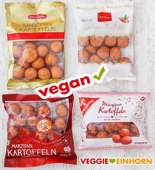 Vier Tüten vegane Marzipankartoffeln
