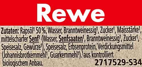 Inhaltsstoffe von veganer Mayonnaise von Rewe