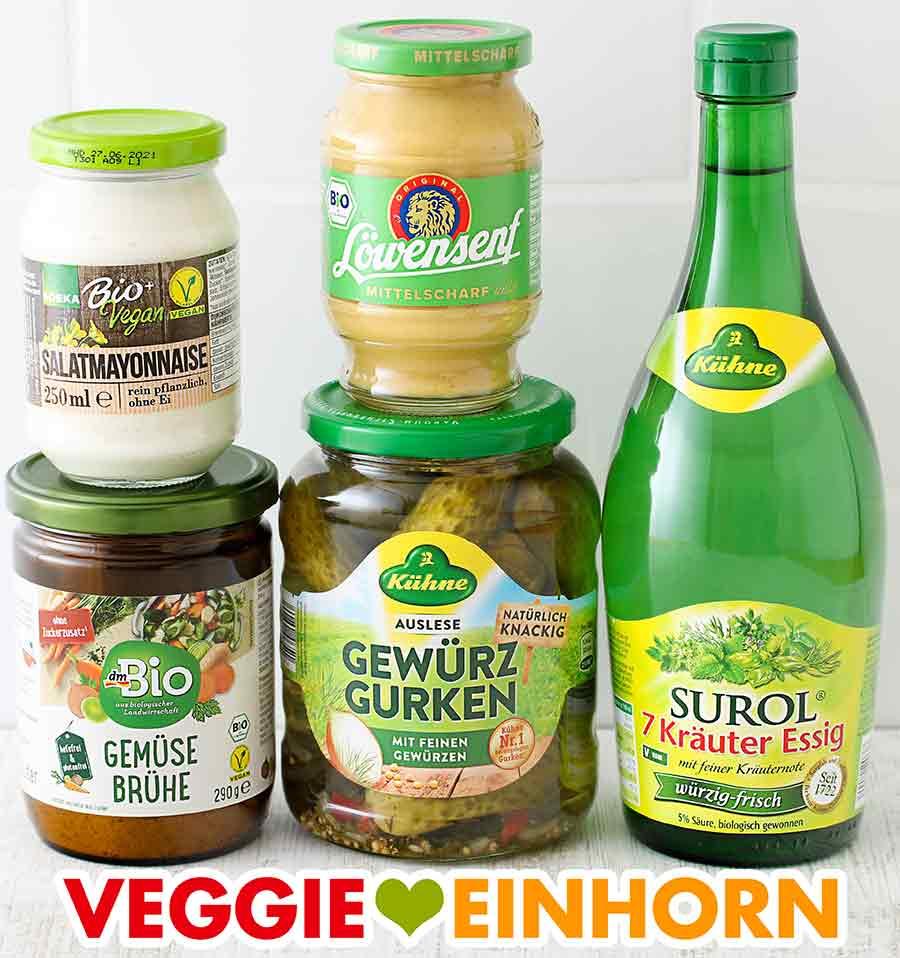 Vegane Mayo, Senf, Gemüsebrühe Pulver, Gewürzgurken, Essig