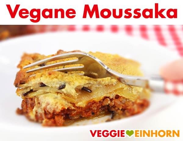 Vegane Moussaka auf dem Teller