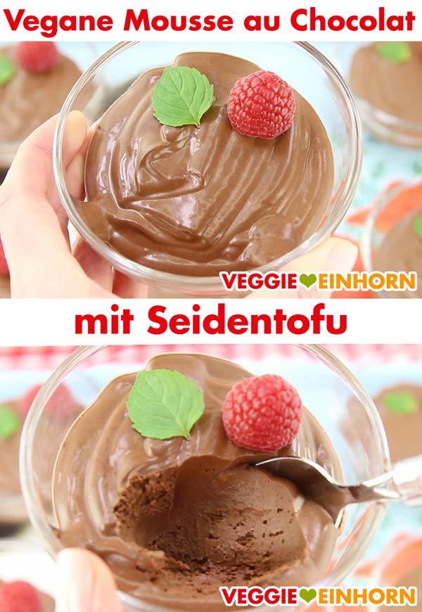 Vegane Mousse au Chocolat mit Seidentofu in Dessertschale
