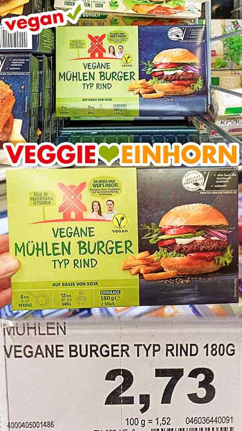 Eine Packung tiefgekühlte vegane Mühlen Burger Typ Rind