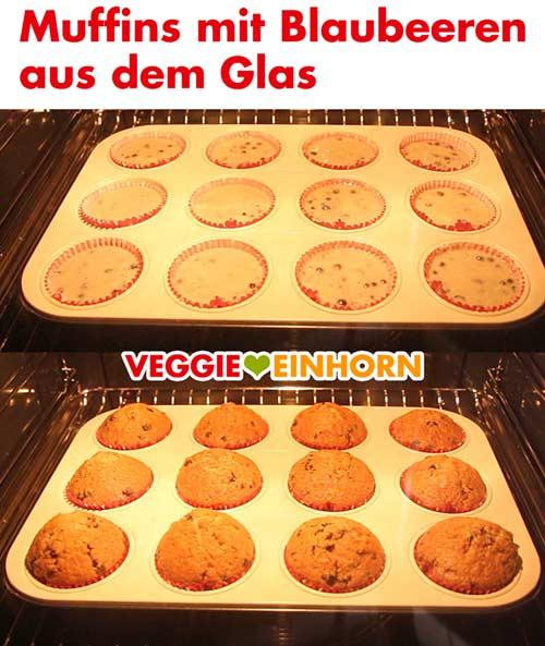 Vegane Muffins mit Blaubeeren aus dem Glas im Backofen