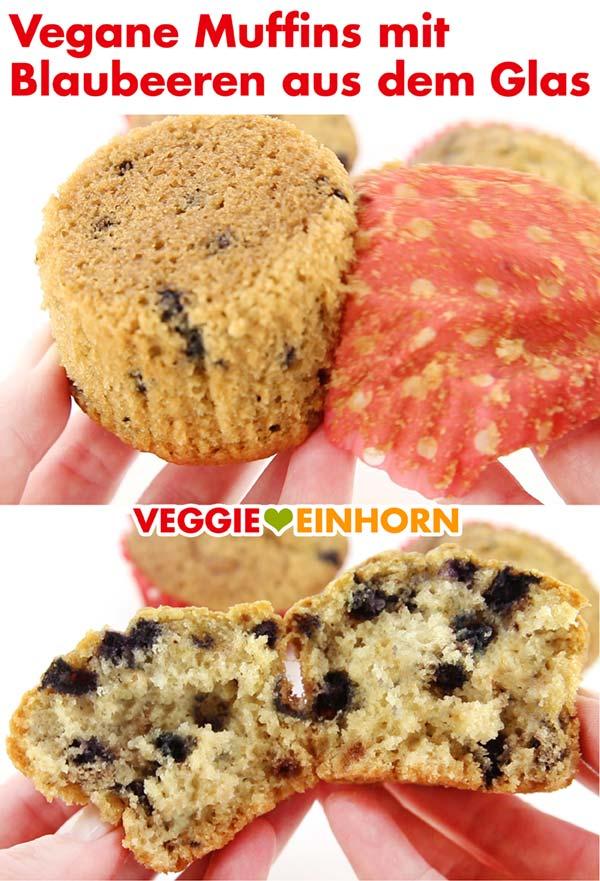 Fluffige vegane Muffins mit Blaubeeren aus dem Glas