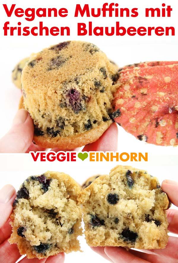 Saftige vegane Muffins mit frischen Blaubeeren