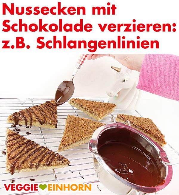 Vegane Nussecken mit Schokolade verzieren