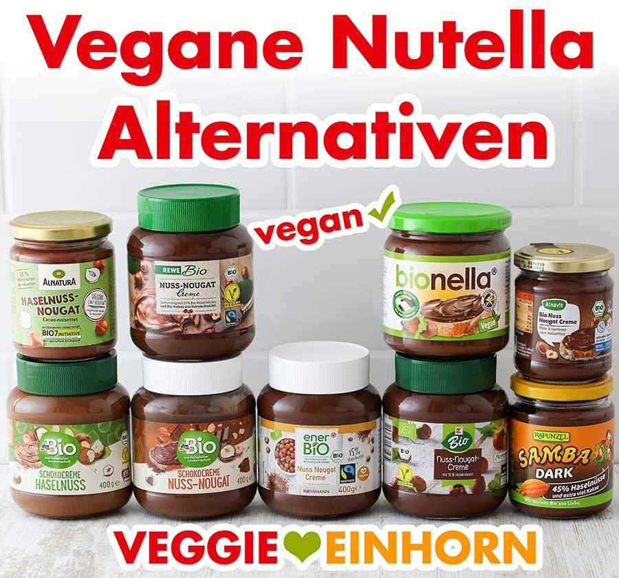 Neun Gläser mit veganer Nuss-Nougat-Creme von verschiedenen Marken