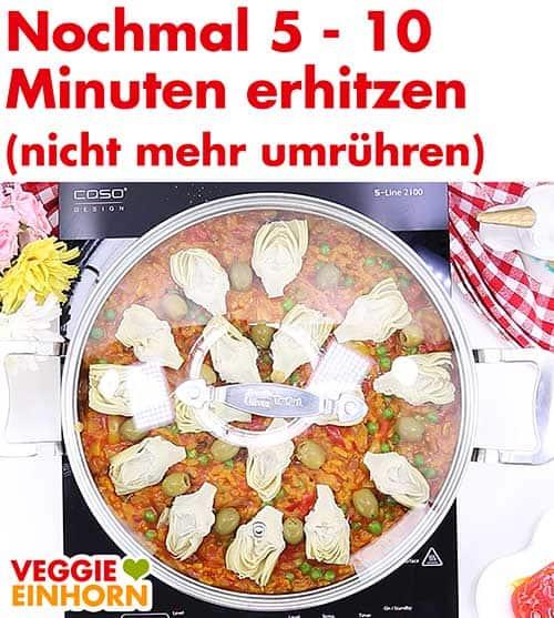 Vegane Paella erhitzen