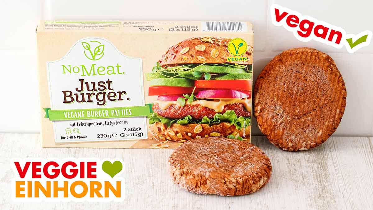 Eine Packung No Meat Just Burger und tiefgekühlte Patties