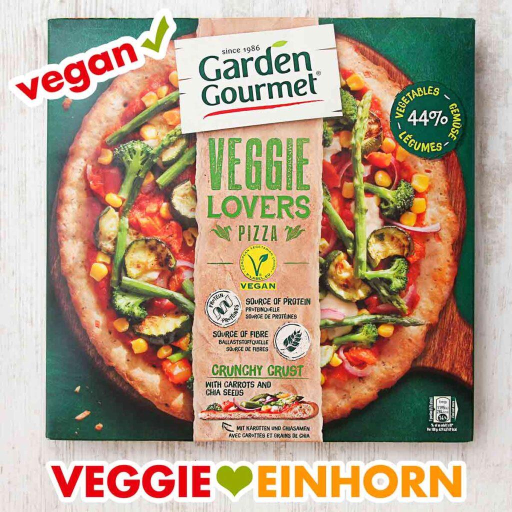 Eine Packung vegane Tiefkühlpizza von Garden Gourmet Veggie Lovers