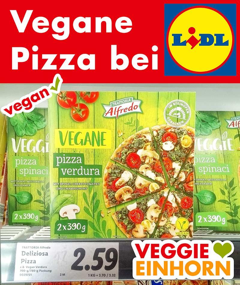 Eine Packung vegane Tiefkühlpizza im Supermarkt Regal bei Lidl