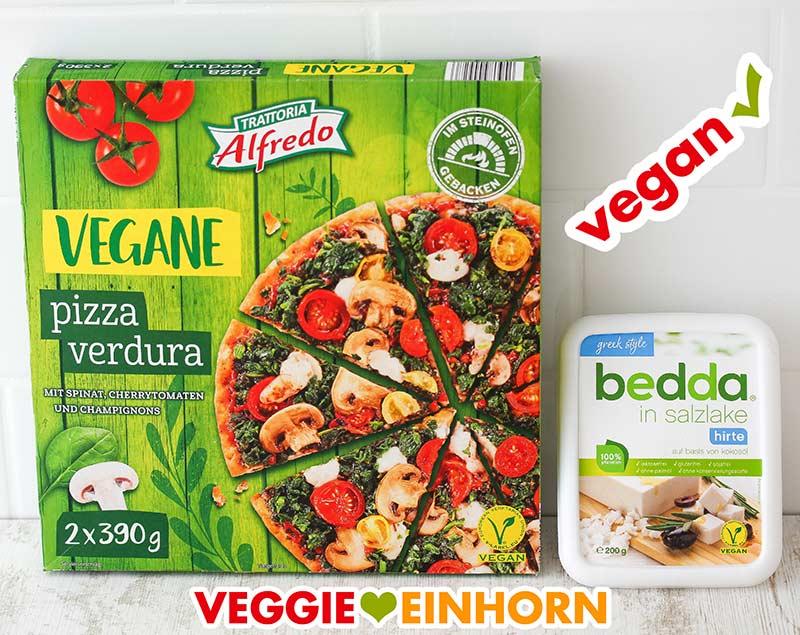 Pizza Verdura von Lidl und Veganer Feta von Bedda