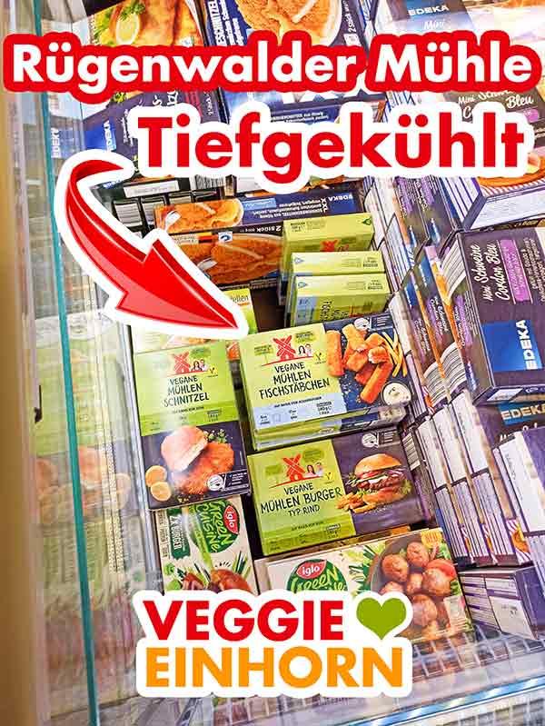 Vegane Produkte von Rügenwalder Mühle in der Tiefkühltruhe im Supermarkt
