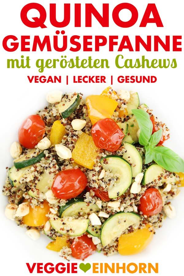 Vegane Quinoa Gemüsepfanne mit Zucchini, Paprika, Tomaten und gerösteten Cashews