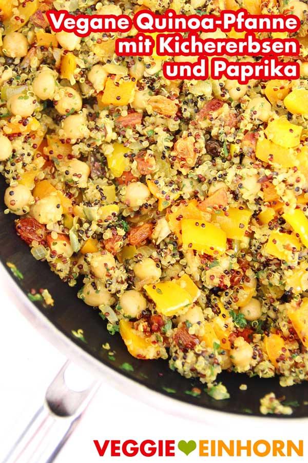 Vegane Pfanne mit Quinoa, Kichererbsen und Paprika