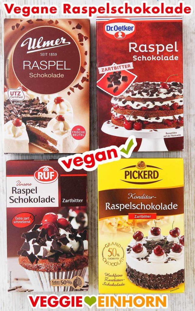 Vier Packungen vegane Raspelschokolade