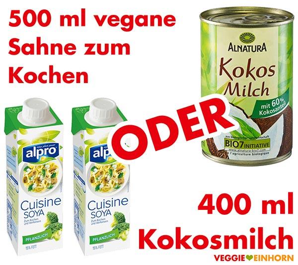 Vegane Sahne zum Kochen oder Kokosmilch