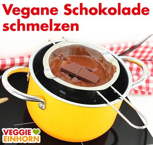 Vegane Schokolade schmelzen für Nussecken