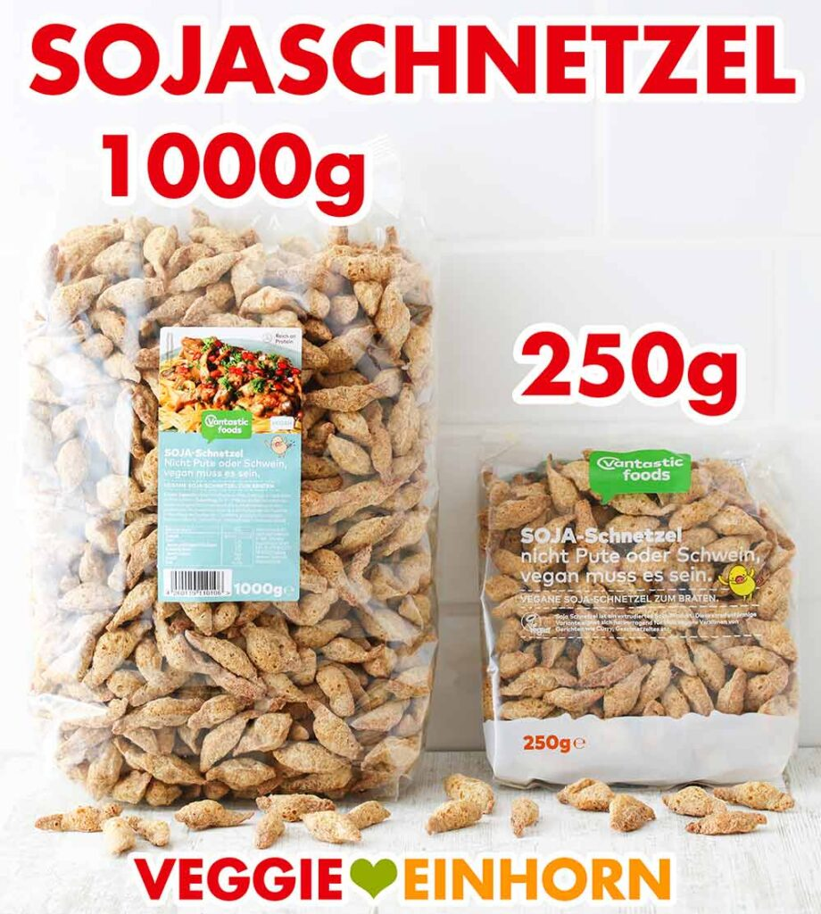 Zwei Packungen Soja Schnetzel von Vantastic Foods (1000 g und 250 g)