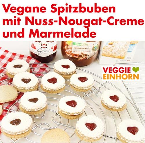 Vegane Spitzbuben mit Nutella und Marmelade