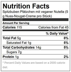 Vegane Spitzbuben mit Nutella - Kalorien und Nährwerte