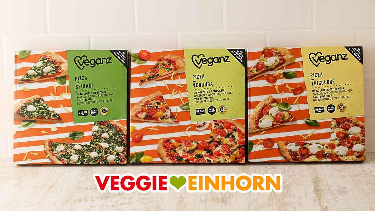 Drei Sorten vegane Pizza von Veganz