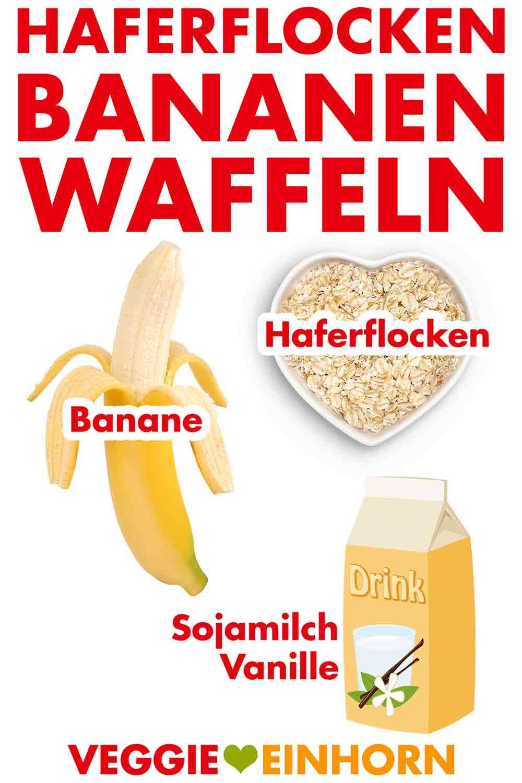 Vegane Waffeln aus Haferflocken, Banane und Sojamilch