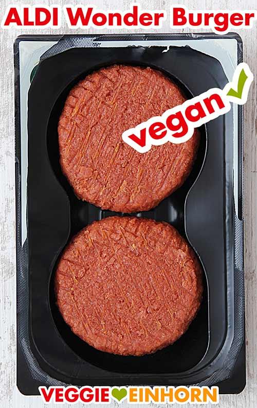 Rohe vegane Patties von Aldi in der Packung