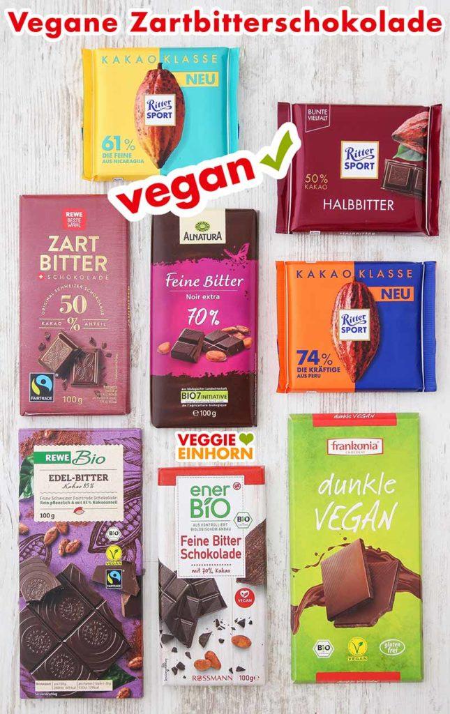 Verschiedene Sorten vegane Zartbitterschokolade auf einem Tisch