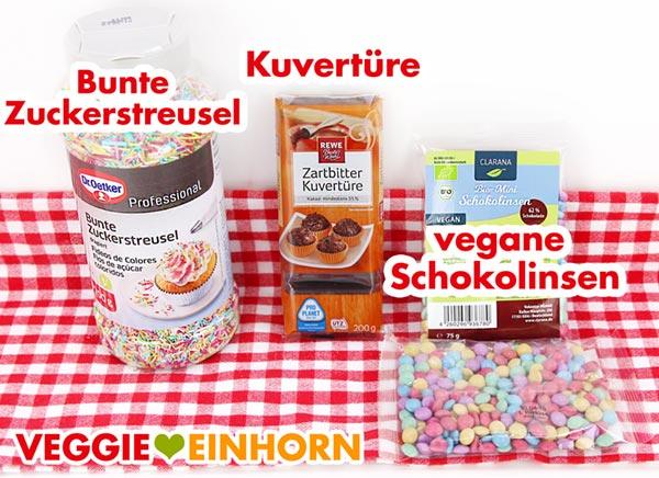 Vegane bunte Zuckerstreusel, Zartbitter Kuvertüre, vegane Schokolinsen