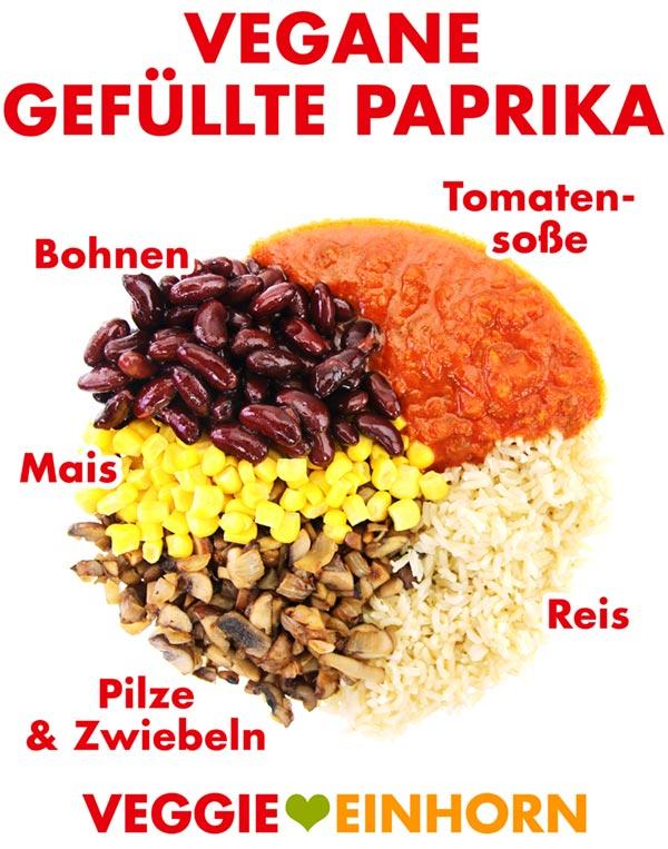 Gefüllte Paprika mit Reis Bohnen und Mais