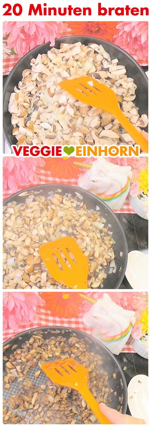 Champignons und Zwiebeln braten
