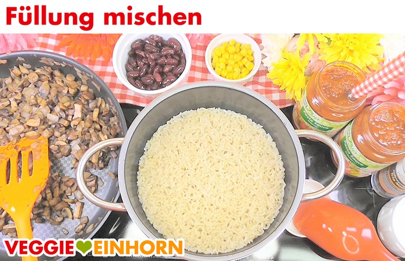 Reis Pilze Bohnen Mais