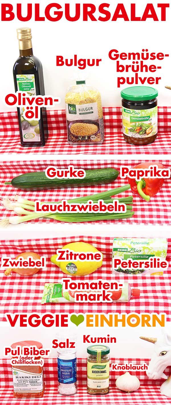Verwendete Produkte für Bulgursalat