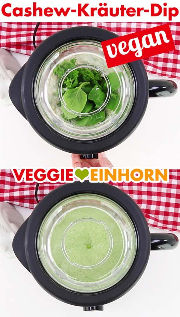 Veganen Cashewdip mit Kräutern im Standmixer pürieren
