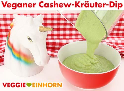 Veganen Cashew-Kräuter-Dip servieren