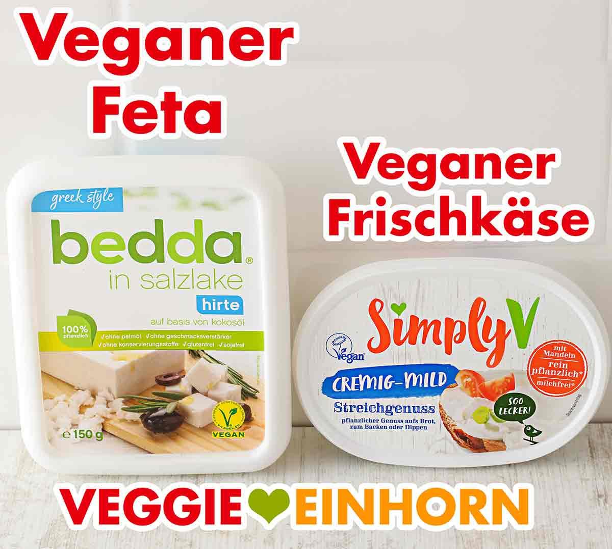 Eine Packung veganer Feta und eine Packung veganer Frischkäse