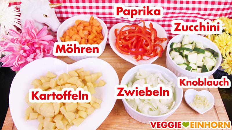 Kartoffeln Möhren Paprika Zwiebeln Zucchini